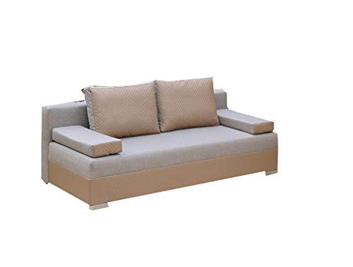 PM Sofa Schlaffunktion Bettfunktion Couch Polstergarnitur Wohnlandschaft Polstersofa Couchgranitur - Cappuccino - Laroo