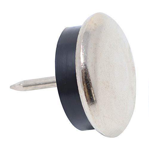 Adsamm® | 16 x Metallgleiter mit Puffer und Nagel | Ø 25 mm | Silber | rund | Möbelgleiter mit Stift in Premium-Qualität von Adsamm®