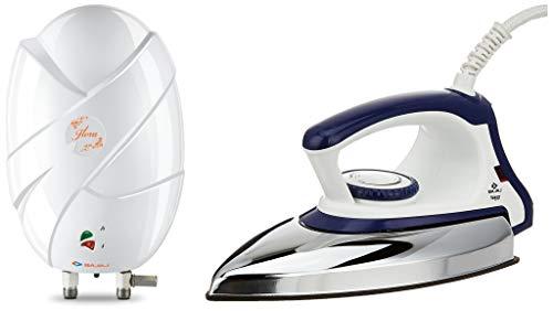 Bajaj Flora Instant 3 Litre Vertical Water Heater, White & Majesty DX 11 1000-Watt Dry Iron (Blue/White) Combo