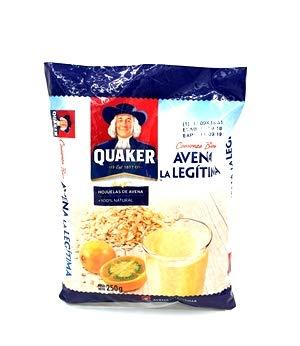 Quaker- Hojuelas de Avena - 100 % Natural - Ideal para Comenzar Bien Tus Mañanas - Avena la Legitima - 250 Gramos
