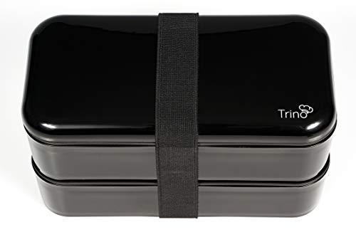 Bento Box | Original Lunchbox Bento mit 2 Luftdichten Fächern | Spülmaschinenfest und Mikrowellengeeignet | ♻ BPA FREI | Auslaufsicher Brotdose schwarz | 1000ml Fassungsvermögen Brotbox