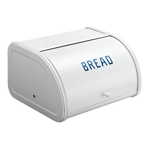 PARANTA Bread Boxes For Kitchen Counter Farmhouse Stainless Steel Bread Bin with Roll Up Lid For Easy Food Storage White BREAD Lettering