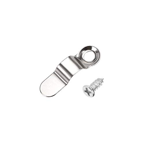 sourcing map Frame Turn Button, 9/10' Metal Bow Shape with Screws for Hanging Pictures, 20 Pcs (Silver Tone)