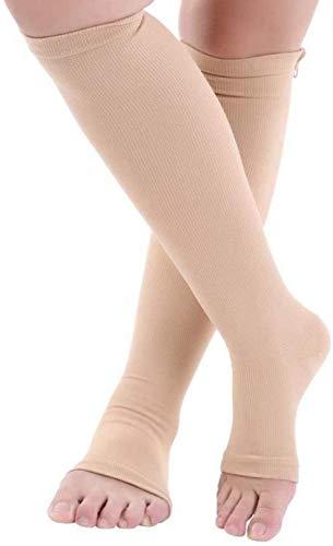 QDY Medias de compresión Unisex antifatiga con Cremallera Alivio del Dolor Protección elástica para la Pantorrilla Negro/Piel Cómodo Todo el día Zapatos Planos