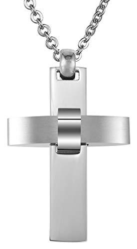 Abellale - Collar de Acero Inoxidable para Mujer, Colgante de Cruz Cristiana, Brillante, 3 x 4,5 cm, Color Plateado