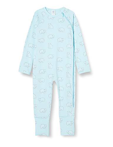 Sanetta Baby-Jungen New Angel Warmer Overall Hellblau mit einem niedlichen Eisbären-Allover, blau, 056