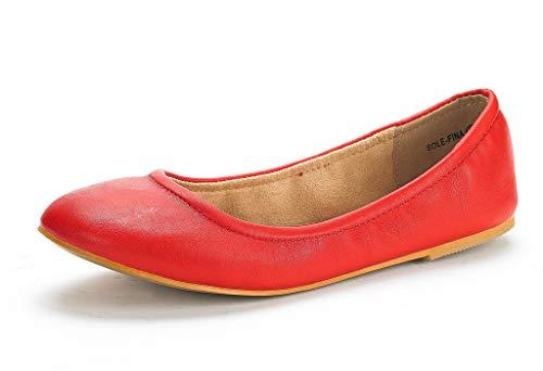 DREAM PAIRS Women's Sole-Fina Red Solid Plain Ballet Flats Shoes - 5 M US