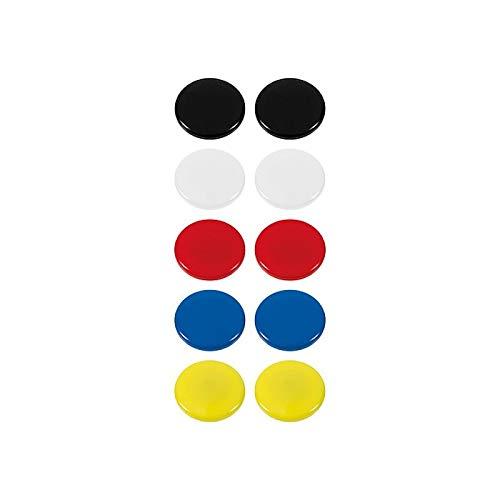Westcott Haftmagnete 10er Pack, 30 mm, rund, je 2x weiß, schwarz, rot, blau, gelb, E-10822 00