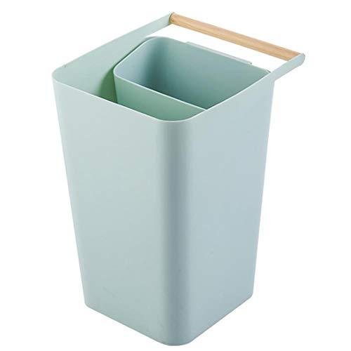 Qinlee Papelera De Reciclaje De Plástico Para Cocina, Con Compartimentos Y Asa Para Clasificación Selectiva De Residuos (verde)