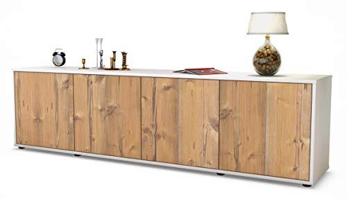 Stil.Zeit TV Schrank Lowboard Antonia, Korpus in Weiss Matt/Front im Holz-Design Pinie (180x49x35cm), mit Push-to-Open Technik, Made in Germany