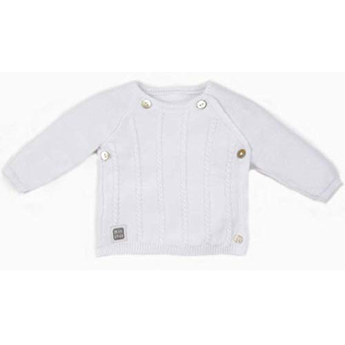 Minutus Jersey Bebé, Modelo Novem, 100% Algodón (Blanco, 3-6 meses)