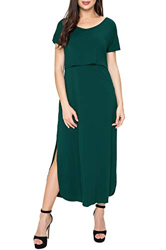 Smallshow Women's Maternity Nursing Dresses Split Long Dress for Breastfeeding Large Dark Green