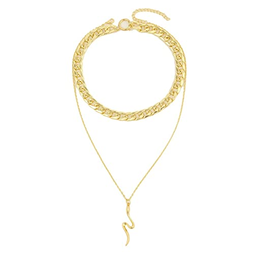 BigBigHundred Collar de serpiente animal exagerado colgante de serpiente punk multicapa collar de hueso de serpiente joyería para mujeres niñas - oro