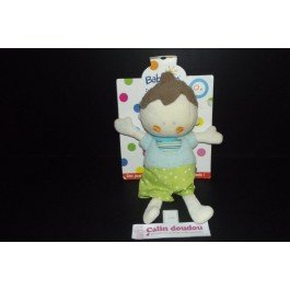 Babysun - Doudou babysun garcon poupee bleu vert rire d enfant neuf - 2965