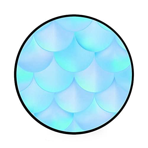 Esterilla redonda antideslizante para gimnasio, escamas de peces de sirena, escamas azules, gran diámetro, plegable, suave y lavable, organizador de almacenamiento de juguetes