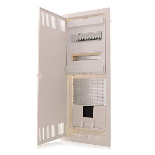 Multimediaverteiler & Sicherungskasten Kombi Unterputz 842x346x92mm 2-reihig für 24+4 Module Verteiler IP30 Stahltür Kommunikationsverteiler