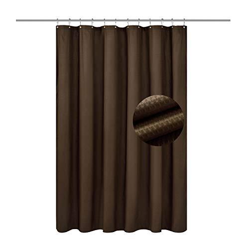 Barossa Design Weicher Mikrofaser-Duschvorhang mit geprägten Punkten – Hotelqualität, maschinenwaschbar, schimmelresistent & wasserabweisend – Schokoladenbraun, 188 x 183 cm (B x L)