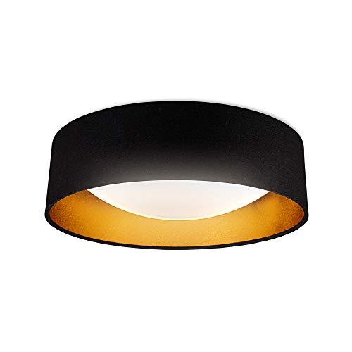 B.K.Licht I LED Stoff Deckenleuchte I Schwarz Gold I 18W LED Platine I 2.200lm I 4.000K neutralweiße Lichtfarbe I Stofflampe I 40cm