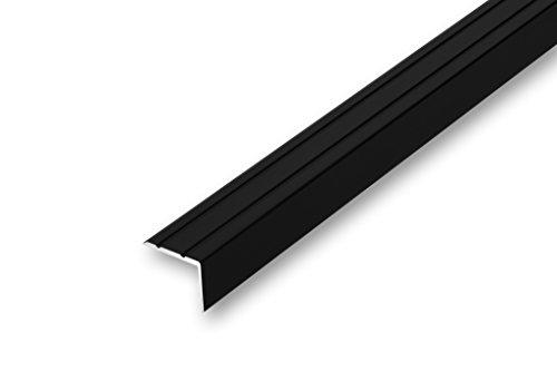 Treppenwinkel 20 x 25 x 1000 mm schwarz selbstklebend Treppen-Kantenprofil Stufen-Profil Alu-Winkel-Profil Kantenschutzprofil glatt Stufenprofil (1000 mm selbstklebend, schwarz)