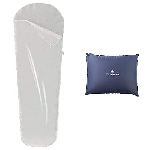 Ferrino Travel Mummy, Sacco Lenzuolo Bianco, 220X80X50 Cm & , Cuscino Gonfiabile Goffrato Unisex Blu, 40X30X7 Cm