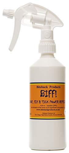Biteback Products 'BIFF!' ™ Reines und leistungsstarkes 20% Icaridin Fliegenschutzmittel 500ml SPRAY