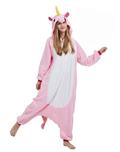 DELEY Unisex Adultos Enterizo de Pijamas Unicornio Ropa de Dormir con Capucha de Cosplay de Anime Carnaval Halloween