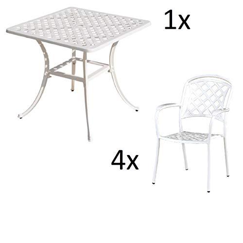 Inko Tisch-Set 1 Tisch 80x80cm 4 Sessel Aluminium Guss Weiss Variante wählbar Inko Tisch-Set Duke Weiss