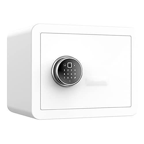 DAPAO Caja de Seguridad Pequeña, Caja Fuerte Electrónica, Caja de Seguridad Electrónica, Caja Fuerte Digital para el Hogar, Desbloqueo de Huellas Dactilares, Blanco/Gris Opcional