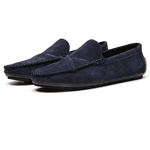 Mocasines Cómodos de Conducción Gamuza para Hombre Plano Informal Caminar Brogue Clásico Negocios Zapatos Barco Vestir 39-40 EU Azul,25.0 CM Del talón a los pies