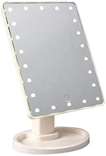 مرآة مكياج Xr-1608 بستاند وإضاءة ليد 27X17 سم - ابيض