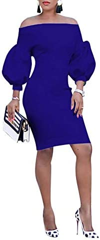 Ophestin Women Puff 3 4 Sleeve Off The Shoulder Bodycon Knee Length Party Pencil Midi Dress product image
