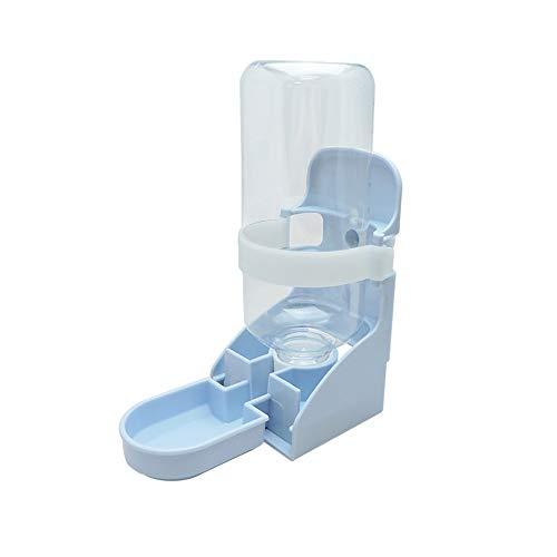 Andiker 2-in-1-Wasserflasche für Hundekäfige, tragbarer Wasserspender zum Aufhängen, 500 ml, für Haustierkäfig-Flasche für Süßwasser, abnehmbarer automatischer Trinkbrunnen für Katzen (blau)