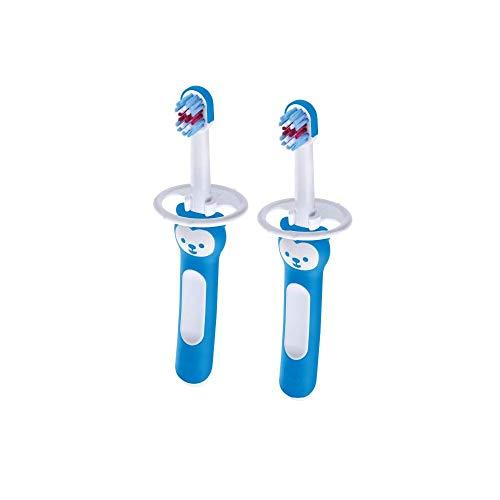 Mam Baby's Brush Zahnbürste Neonato im 2er Set für Neonati Zahnbürste mit Sicherheitsring, Griff für Milchzähne, 6+ Monate, Hellblau - 60 g