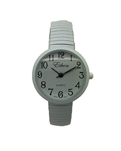 Ladies Kids Small Case Big Numbers Stretch Elastic Band Watch Eikon (White)