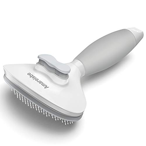 Amareisbe Self Cleaning Slicker Brush, Dog & Cat Brush with Massage Particles, Grooming Shedding...