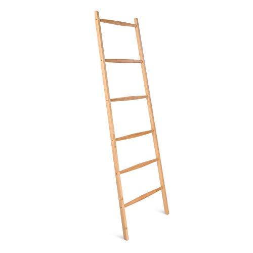 Navaris Escalera toallero de bambú - Perchero Organizador con 6 peldaños - Porta Toallas para apoyar en la Pared - Toallero de pie Vintage - 1.7 M