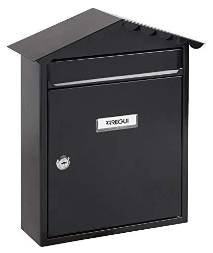 Arregui Visit E5744 Buzón Individual de Acero, tamaño M (DIN A4), Negro, 360 x 300 x 110 mm