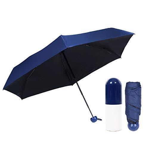 Youth Union Mini Regenschirm Taschenschirm mit Kapsel-Design Hülle Faltbar Ultralight 210T, Leicht Klein Automatisch Anti-UV Sonnenschirm, Reiseschirm für Frauen Männer und Kinder (dunkelblau)