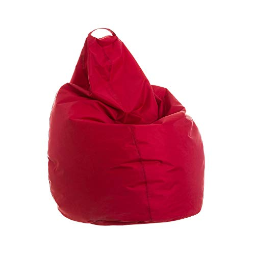 Puff Pera Rojo de poliéster Moderno para salón Iris - LOLAhome