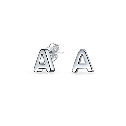 Abc Minimalist Geometric Capital Block Alphabet Letter Initial Stud Earrings For Teen For Women 925 Sterling Silver