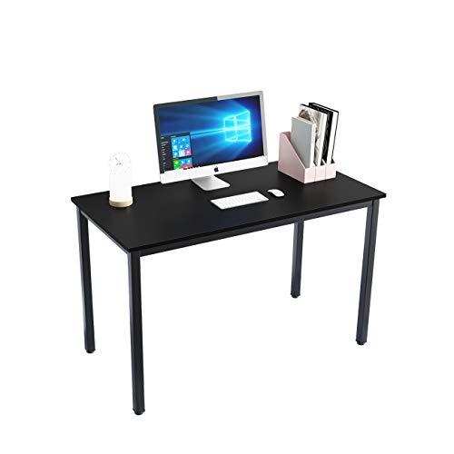 SogesHome Escritorio de Oficina 120 x 60 x 75 cm PC Escritorio Estación de Trabajo para Uso de Oficina en el hogar Mesa de Escritura, Mesa de Comedor Mesa de Conferencia,Teca & Negro, SH-LD-AC120BW