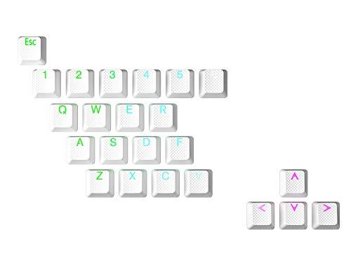 HK Gaming Juego de teclas dobles retroiluminadas de goma | Perfil OEM para teclado mecánico (23 teclas, blanco)