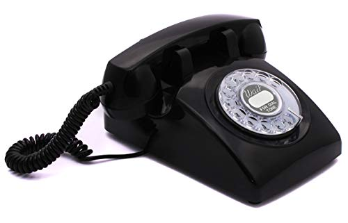 Opis 60s Cable with Classic United States Rotary Dial Inlay: Designer Retro Phone/Rotary Dial Telephone/Retro Style Phone/Vintage Telephone/Classic Desk Phone with Rotary Dialler (Black)