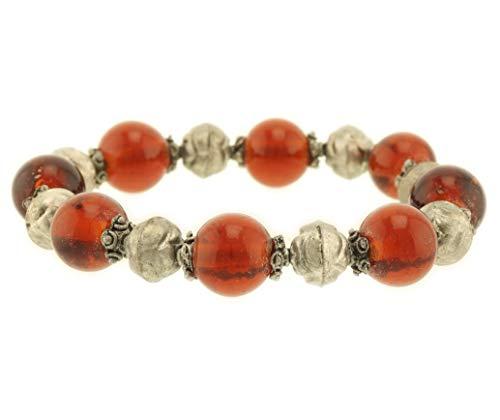 Behave® dames Fashion Stretch kralen armbanden van glas - bruin - 20cm grootte