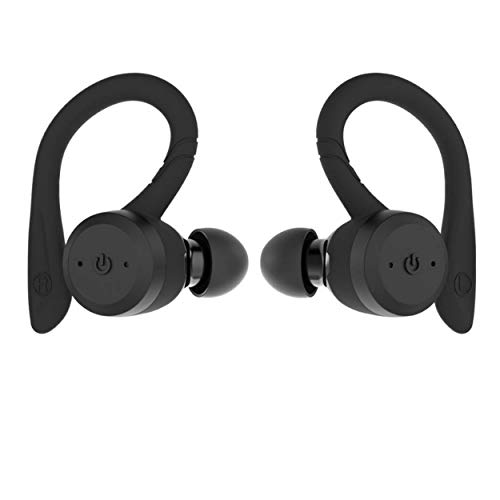 True Wireless Earbuds Bluetooth 5.0 Headphones, Sports in-Ear TWS Stereo Mini Headset w/Mic HiFi Bass IPX7 Waterproof, One Step Instant Pairing Case Noise Cancelling Earphones (Black)