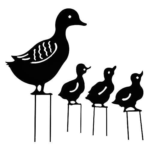 YeenGreen Palo da Giardino in Metallo, 4Pcs Famiglia Forma di Anatra Statua Giardino di Animali Statua Giardino Animali Scultura Retrò Artistica Patio esterno Prato Decorazione da Cortile