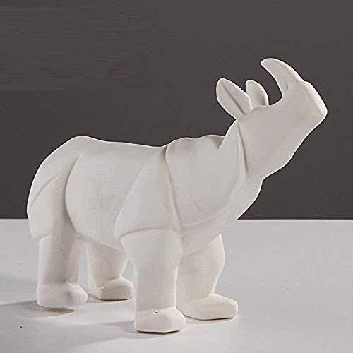 OFJM Escultura Figuras de colección Origami geométrico Rinoceronte Arte Animal Resina artesanías decoración del hogar