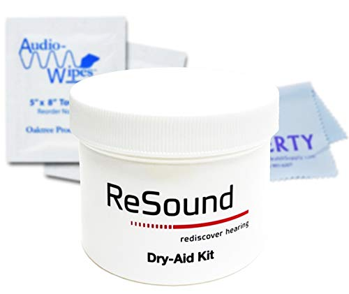ReSound Dry-Aid Jar- Hearing Aid Dehumidifier- Hearing Aid Dehumidifier Drying Jar w/ Microwavable Desiccant - Includes AudioWipes Towelettes and Liberty Cloth