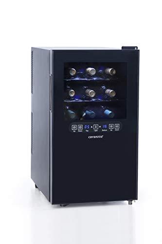 Cavanov - Vinoteca Cv0182T, 18 Botellas, 46X32,5X57Cm, 2 Temp 10/18ºc, Display Digital Electronico, Luz Fria Interior, Humedad Controlada, Sin Vibraciones.