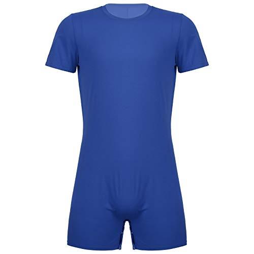 Agoky Herren Body Bodysuit Einteiler Kurz mit Reissverschluss Overall Slim Fit Männerbody Kurzarm Unterhemd Boxershorts Unterwäsche M-XXL Blau B L